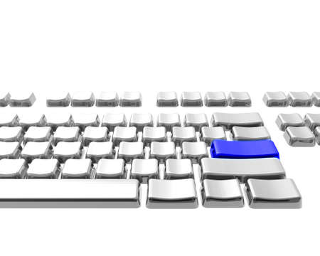 color key: keyboard with blue color key  isolated on a white background