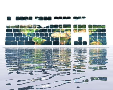 keyboard with earth texture and reflection