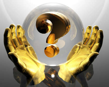 3d golden question mark in a hands Stock Photo - 3840414