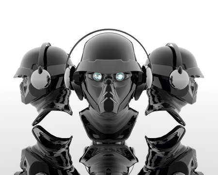 3d soldiers in a gas mask with headphone photo