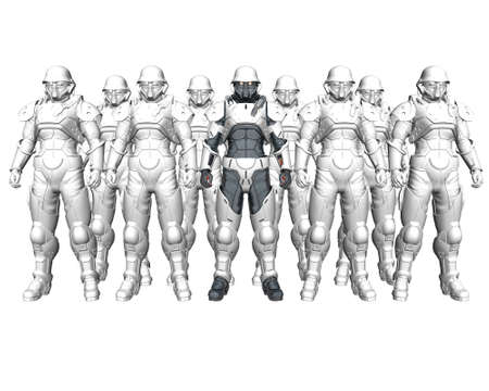 3d soldiers in a gas mask in commission Stock Photo - 3840294