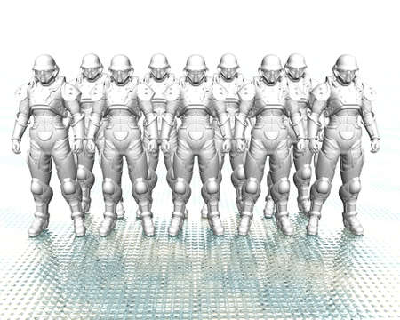 3d soldiers in a gas mask in commission Stock Photo - 3840452