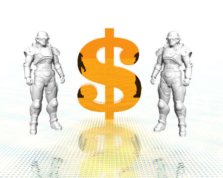 3d soldiers in a gas mask with golden us dollar sign Stock Photo - 3840384