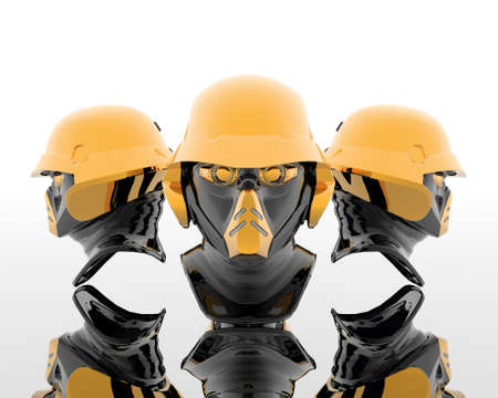 3d soldiers in a gas mask with golden helmet Stock Photo - 3840923