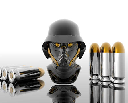 3d soldiers in a gas mask with silver bullets photo
