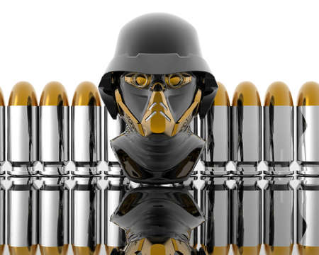 3d soldiers in a gas mask with silver bullets Stock Photo - 3840311