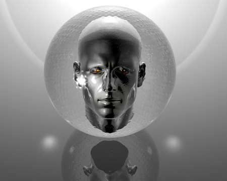 3d men head with glass orb on grey background photo