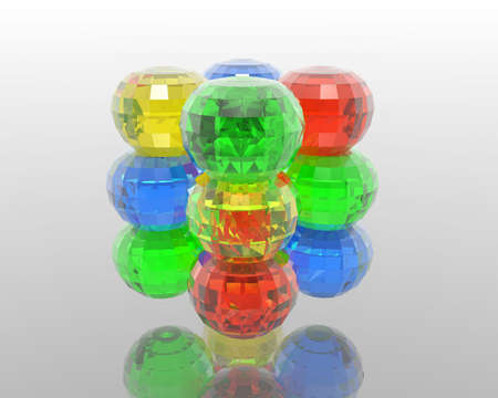 diamond colorful glass orbs with reflection on light background photo