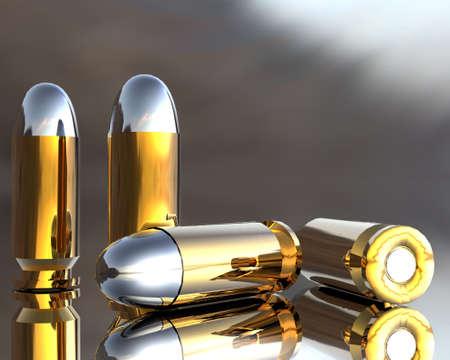 criminal defense: bright 3D golden and silver bullets in hdri