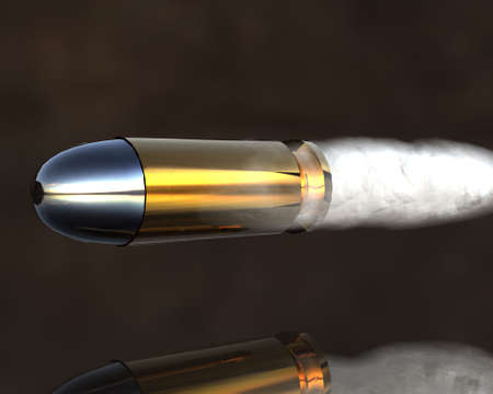 cartridges: bright 3D golden and silver bullets on grey Stock Photo