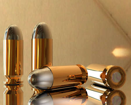 bright 3D golden and silver bullets in hdri photo