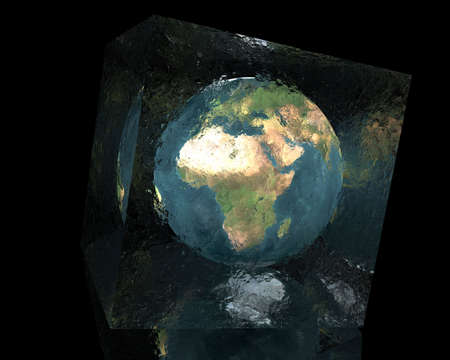 cracked glass: earth in cracked glass cube with reflection on black background
