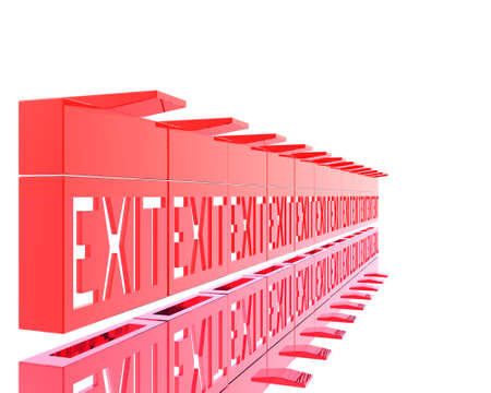 3D exit red signs isolated on a white background Stock Photo - 3840890