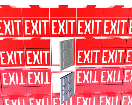 3D exit red signs isolated on a white background photo