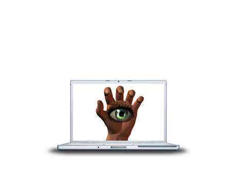 hand with girl eye on laptop screen isolated on white background Stock Photo - 3839881