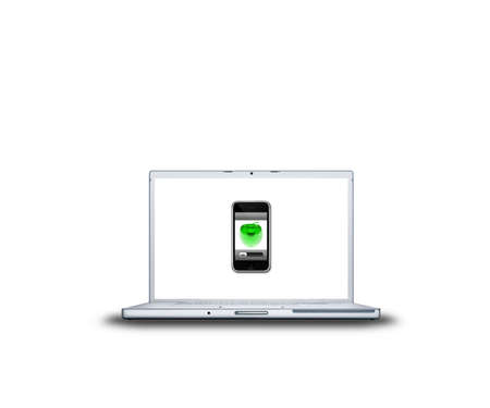 mobile phone with apple on laptop screen isolated on white background Stock Photo - 3839840