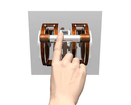 electronic balance: finger pushing industrial breaker switch isolated on white Stock Photo