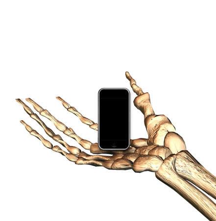 mobile phone in bones hand isolated on white background photo