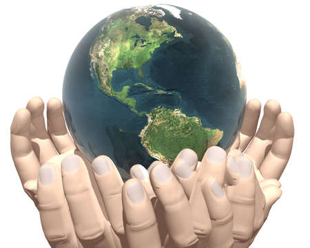 earth in hands isolated on white background Stock Photo - 3840676