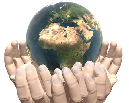 earth in hands isolated on white background Stock Photo - 3840702