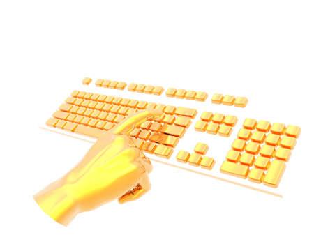 finger pushing key on keyboard isolated on white photo