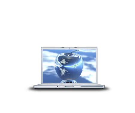 apple on laptop screen isolated on white back Stock Photo - 3839934