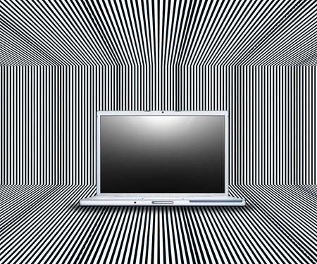 laptop with creative screen on the stripes background Stock Photo - 3840429