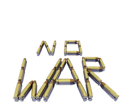 no war: caption no war from 3D bullets isolated on white background
