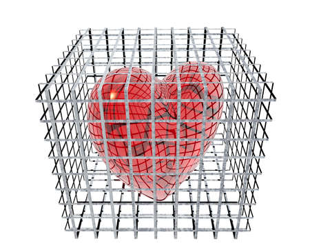 3d hearts in birdcage isolated on white background photo
