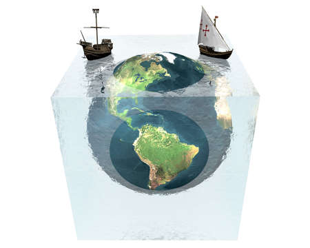 cracked glass: earth in cracked glass cube with ships on white background Stock Photo