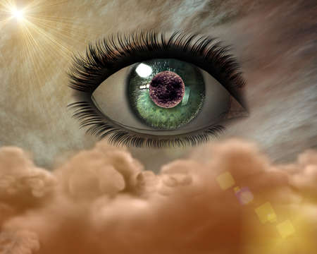 beautiful 3D girl eye in the sky Stock Photo - 3840393