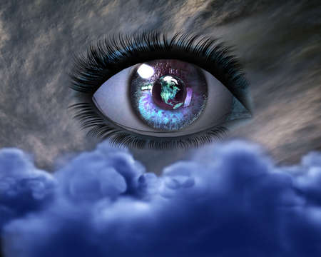 globo ocular: 3D hermosa ni�a de ojos en el cielo Foto de archivo