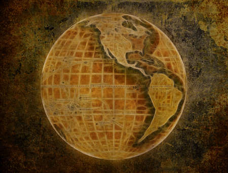 old paper with globe grunge abstract textured wallpaper Stock Photo - 3840517