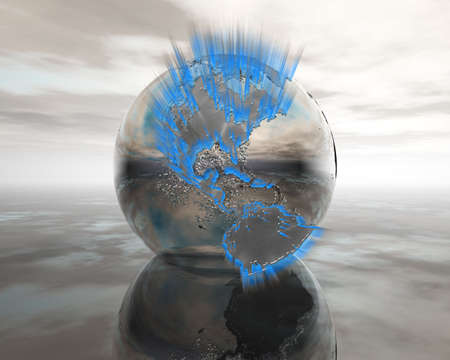 backlights: 3D globe on water in silver colors with backlights