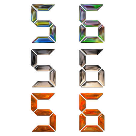 set of 3d metal digits isolated on white photo