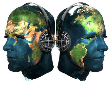 Two 3D head with earth texture with headphones isolated on white photo