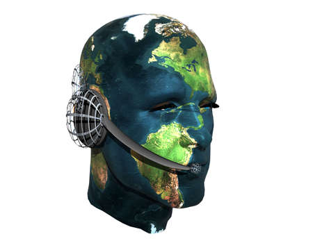 3D men head with earth texture with headphone isolated on white photo