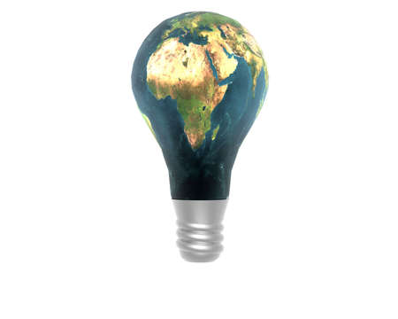 3D lamp with earth texture isolated on white Stock Photo - 3840226