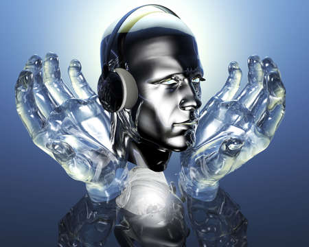contemplating: 3D men head with headphones in glass hands
