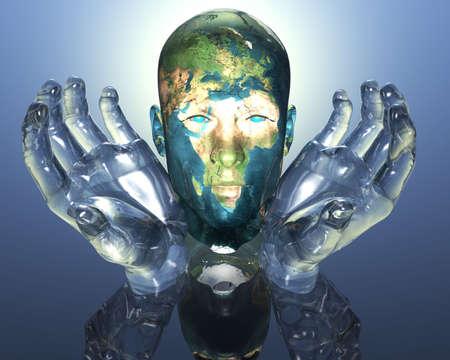 3D earth textured men head in glass hands  photo