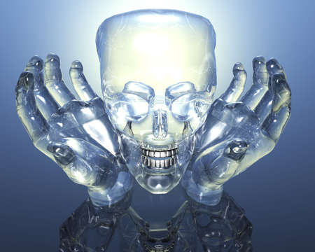 3D glass skull in glass hands on blue background Stock Photo - 3840893