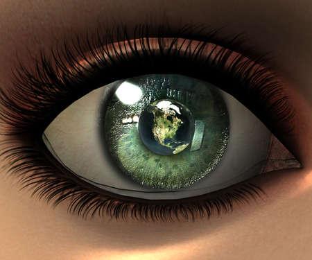 woman eyeball: beautiful girl eye in 3D with earth in eyeball