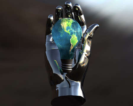 3D lamp earth textured in 3D silver hand photo