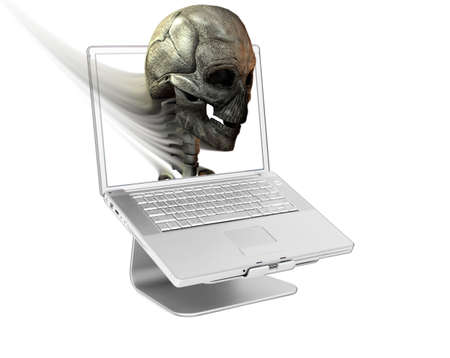Laptop with skull  on screen isolated on white Stock Photo - 3840563