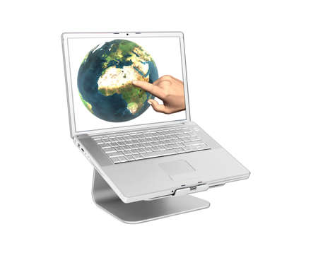 personal decisions: Laptop with earth on screen isolated on white   Stock Photo