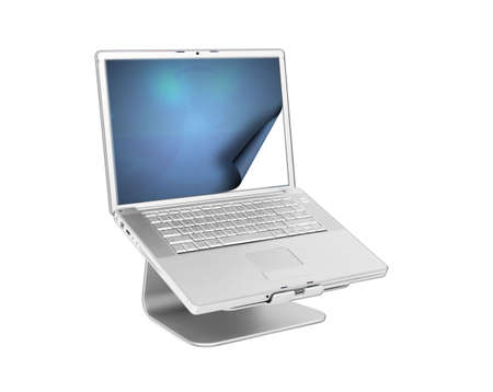 personal decisions: Laptop with curling screen isolated on white