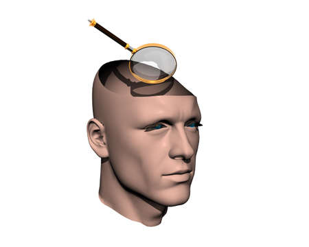 3D men cracked head with magnifying glass isolated on white photo