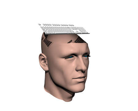 3D men cracked head with keyboard isolated on white photo