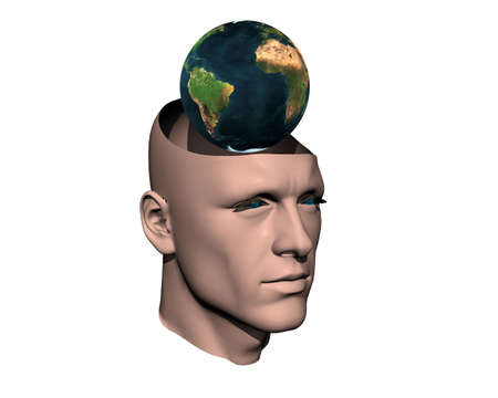 3D men cracked head with earth isolated on white photo