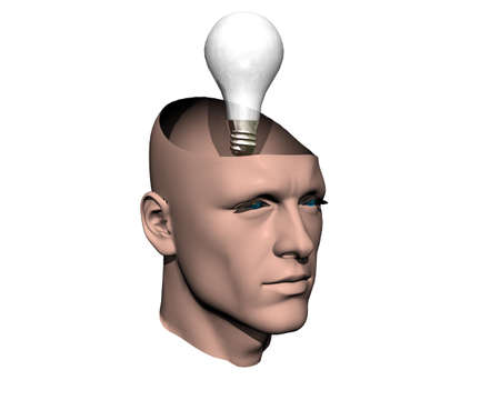3D men cracked head with lamp isolated on white photo
